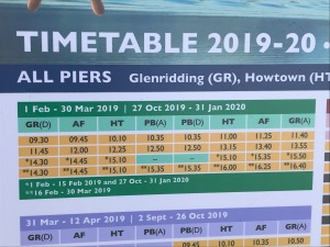 Steamers Timetable March 2019