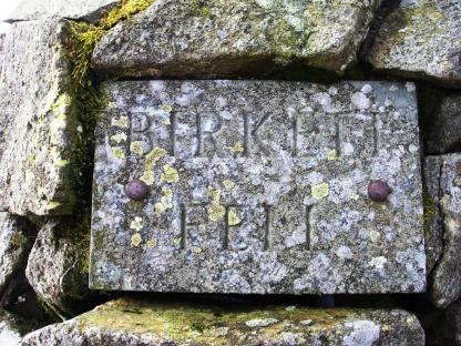 Birkett Fell plaque